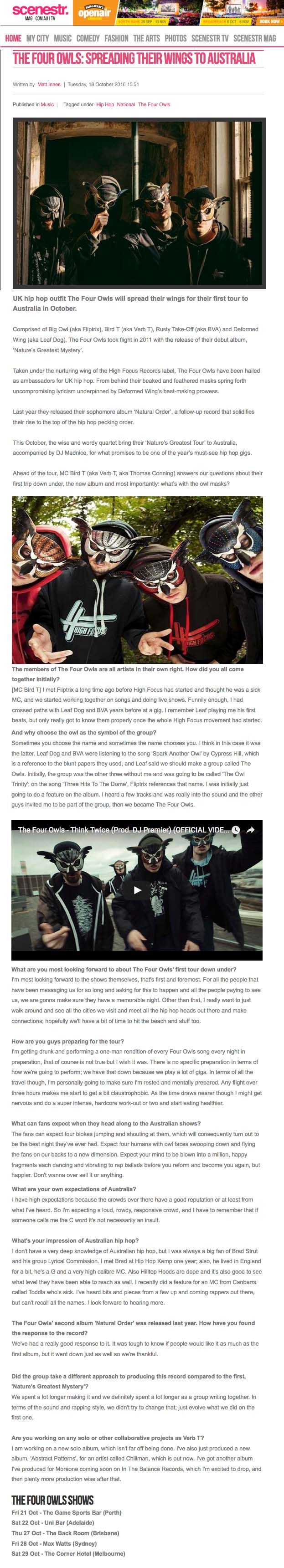 official website of high focus records the four owls the four owls spreading their wings to tour 2016 interview scenestr